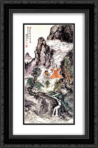 Two Divinities Dancing 16x24 Black or Gold Ornate Framed and Double Matted Art Print by Tomioka Tessai
