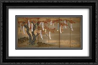 Autumn Maples with Poem Slips 24x16 Black or Gold Ornate Framed and Double Matted Art Print by Tosa Mitsuoki