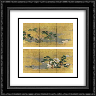Birds and flowers in spring and autumn 20x20 Black or Gold Ornate Framed and Double Matted Art Print by Tosa Mitsuoki