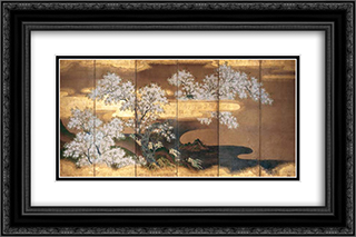 Cherry trees 24x16 Black or Gold Ornate Framed and Double Matted Art Print by Tosa Mitsuoki