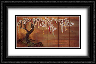 Flowering Cherry with Poem Slips 24x16 Black or Gold Ornate Framed and Double Matted Art Print by Tosa Mitsuoki