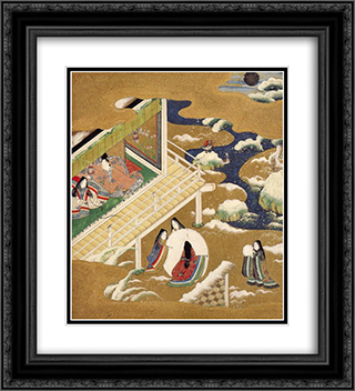 Illustration of the Genji Monogatari (Asagao, The Blue Bell) 20x22 Black or Gold Ornate Framed and Double Matted Art Print by Tosa Mitsuoki