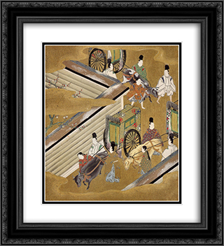 Illustration of the Genji Monogatari (The Perfumed Prince) 20x22 Black or Gold Ornate Framed and Double Matted Art Print by Tosa Mitsuoki