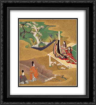 Illustration of the Genji Monogatari (Wakamurasaki) 20x22 Black or Gold Ornate Framed and Double Matted Art Print by Tosa Mitsuoki