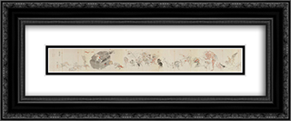 Night March of a Hundred Demons (left half) 24x10 Black or Gold Ornate Framed and Double Matted Art Print by Tosa Mitsuoki