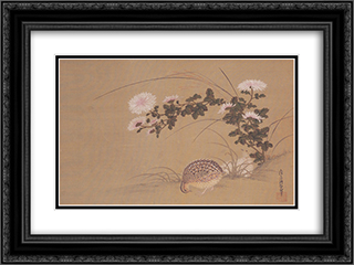 Quail and Chrysanthemums 24x18 Black or Gold Ornate Framed and Double Matted Art Print by Tosa Mitsuoki