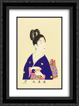 A beauty holding a ball 18x24 Black or Gold Ornate Framed and Double Matted Art Print by Toyohara Chikanobu