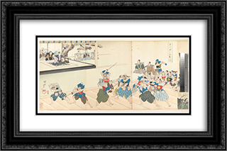 Chiyoda Castle (Album of Men) 24x16 Black or Gold Ornate Framed and Double Matted Art Print by Toyohara Chikanobu
