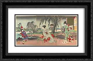 Fireflies at a country house 24x16 Black or Gold Ornate Framed and Double Matted Art Print by Toyohara Chikanobu