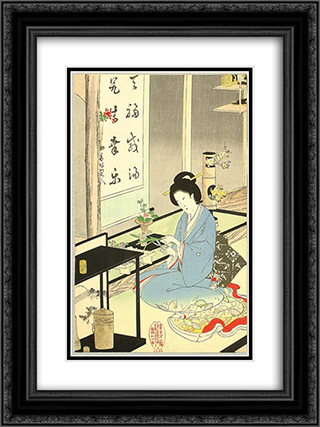 Flower Arranging and Tea Ceremony 18x24 Black or Gold Ornate Framed and Double Matted Art Print by Toyohara Chikanobu