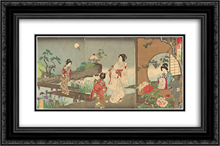 Garden in Early Summer 24x16 Black or Gold Ornate Framed and Double Matted Art Print by Toyohara Chikanobu