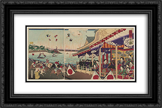 Illustration of Horse Racing at Shinobazu in Ueno 24x16 Black or Gold Ornate Framed and Double Matted Art Print by Toyohara Chikanobu