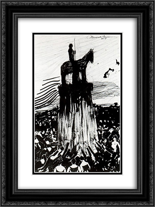 Agitate Crowd Surrounding a High Equestrian Monument 18x24 Black or Gold Ornate Framed and Double Matted Art Print by Umberto Boccioni