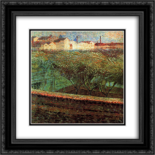 April Evening 20x20 Black or Gold Ornate Framed and Double Matted Art Print by Umberto Boccioni