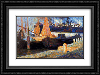 Boats in Sunlight 24x18 Black or Gold Ornate Framed and Double Matted Art Print by Umberto Boccioni