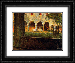 Cloister of S. Onofrio 24x20 Black or Gold Ornate Framed and Double Matted Art Print by Umberto Boccioni