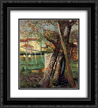 Countryside with Trees 20x22 Black or Gold Ornate Framed and Double Matted Art Print by Umberto Boccioni