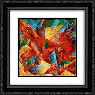 Dimensional shapes of a horse 20x20 Black or Gold Ornate Framed and Double Matted Art Print by Umberto Boccioni