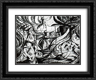 Drawing After 'States of Mind The Farewells' 24x20 Black or Gold Ornate Framed and Double Matted Art Print by Umberto Boccioni