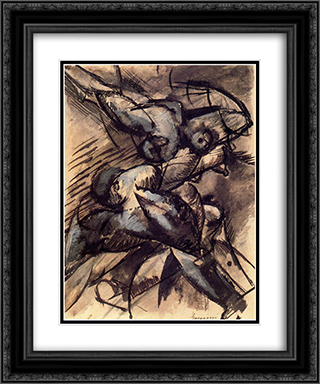 Dynamic Decomposition 20x24 Black or Gold Ornate Framed and Double Matted Art Print by Umberto Boccioni