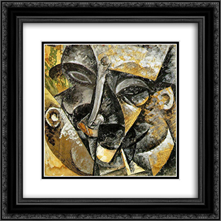 Dynamism of a man's head 20x20 Black or Gold Ornate Framed and Double Matted Art Print by Umberto Boccioni