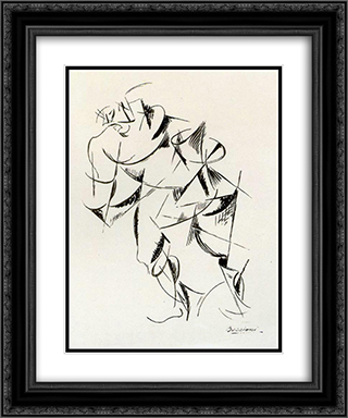 Dynamism of the human body Boxer 20x24 Black or Gold Ornate Framed and Double Matted Art Print by Umberto Boccioni