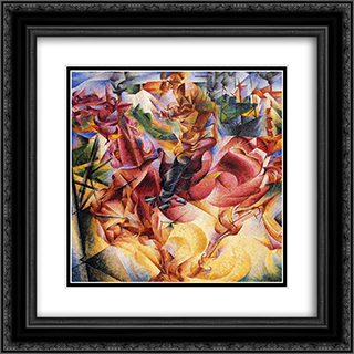 Elasticity 20x20 Black or Gold Ornate Framed and Double Matted Art Print by Umberto Boccioni