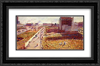 Factories At Porta Romana 24x16 Black or Gold Ornate Framed and Double Matted Art Print by Umberto Boccioni