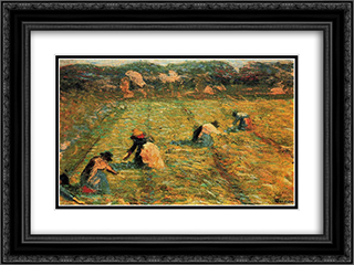 Farmers at work (Risaiole) 24x18 Black or Gold Ornate Framed and Double Matted Art Print by Umberto Boccioni