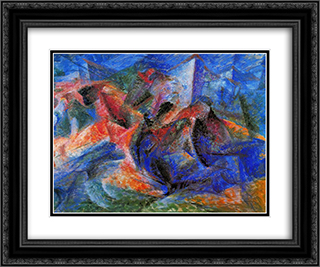 Horse+Rider+Houses 24x20 Black or Gold Ornate Framed and Double Matted Art Print by Umberto Boccioni
