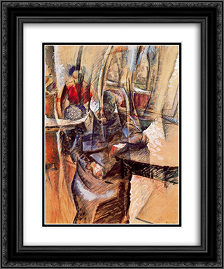 Interior with Two Female Figures 20x24 Black or Gold Ornate Framed and Double Matted Art Print by Umberto Boccioni