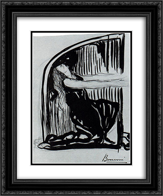 Kneeling Allegorical Figure 20x24 Black or Gold Ornate Framed and Double Matted Art Print by Umberto Boccioni