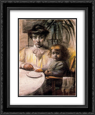 Mother and Child 20x24 Black or Gold Ornate Framed and Double Matted Art Print by Umberto Boccioni