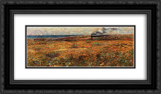 Passing Train 24x14 Black or Gold Ornate Framed and Double Matted Art Print by Umberto Boccioni