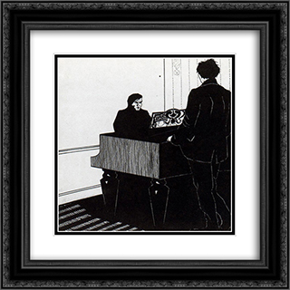 Pianist and Listener 20x20 Black or Gold Ornate Framed and Double Matted Art Print by Umberto Boccioni
