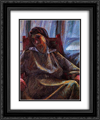 Plastic synthesis - seated person 20x24 Black or Gold Ornate Framed and Double Matted Art Print by Umberto Boccioni