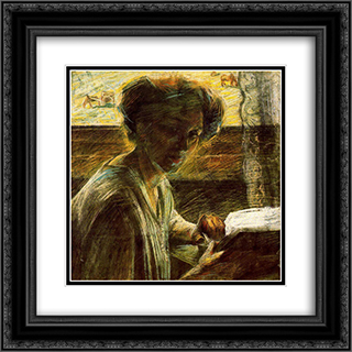 Portrait of a Young Woman 20x20 Black or Gold Ornate Framed and Double Matted Art Print by Umberto Boccioni