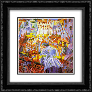 The Street Enters the House 20x20 Black or Gold Ornate Framed and Double Matted Art Print by Umberto Boccioni