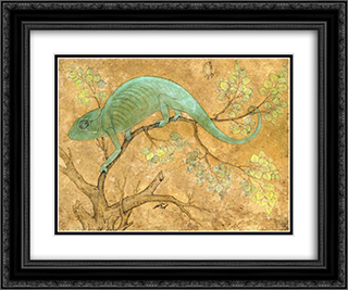 A Chameleon 24x20 Black or Gold Ornate Framed and Double Matted Art Print by Ustad Mansur