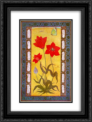 Jahangirshahi 18x24 Black or Gold Ornate Framed and Double Matted Art Print by Ustad Mansur