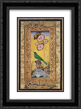 Study of a Gold-mantled Chloropsis 18x24 Black or Gold Ornate Framed and Double Matted Art Print by Ustad Mansur