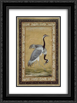 Two Cranes 18x24 Black or Gold Ornate Framed and Double Matted Art Print by Ustad Mansur