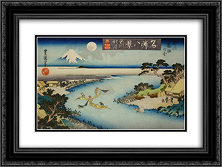 Autumn moon at Tamagawa, two boats fishing at night 24x18 Black or Gold Ornate Framed and Double Matted Art Print by Utagawa Toyokuni II