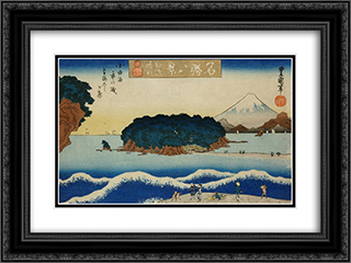 Enoshima seiran 24x18 Black or Gold Ornate Framed and Double Matted Art Print by Utagawa Toyokuni II