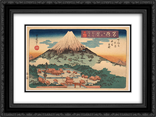 Evening Snow on Fuji from a set of Eight Famous Views published by Iseya Rihei 24x18 Black or Gold Ornate Framed and Double Matted Art Print by Utagawa Toyokuni II
