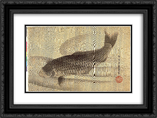Grey carp in water 24x18 Black or Gold Ornate Framed and Double Matted Art Print by Utagawa Toyokuni II