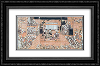 Interior of a Theatre 24x16 Black or Gold Ornate Framed and Double Matted Art Print by Utagawa Toyokuni II