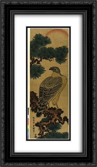 Kachoga. Falcon on a pine branch, rising sun above 14x24 Black or Gold Ornate Framed and Double Matted Art Print by Utagawa Toyokuni II