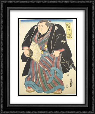 Sumo wrester in blue-brown striped underkimono 20x24 Black or Gold Ornate Framed and Double Matted Art Print by Utagawa Toyokuni II