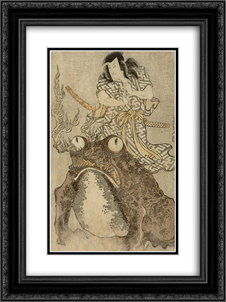 Actor Onoe Eizaburo I as a Magician with a Giant Toad 18x24 Black or Gold Ornate Framed and Double Matted Art Print by Utagawa Toyokuni